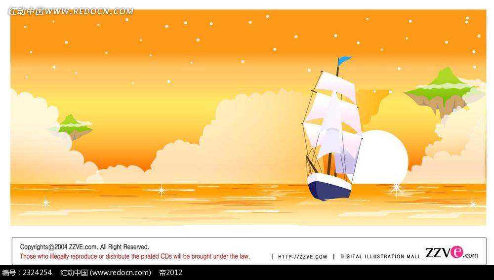 橙色大海帆船手绘背景画