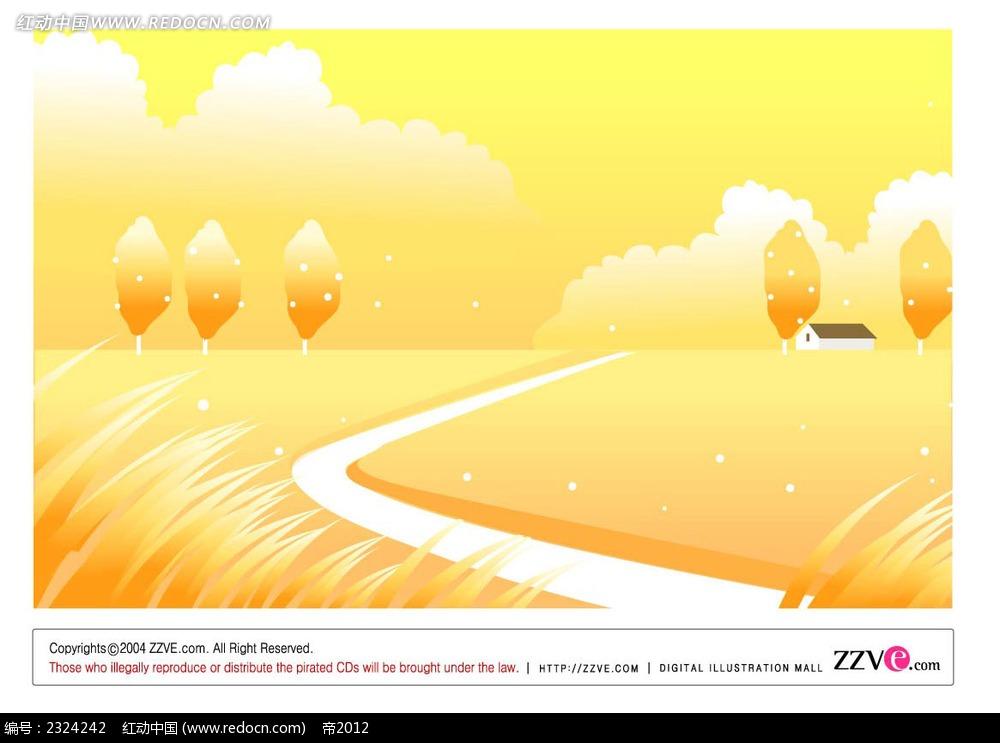 橙色乡村美景手绘背景画