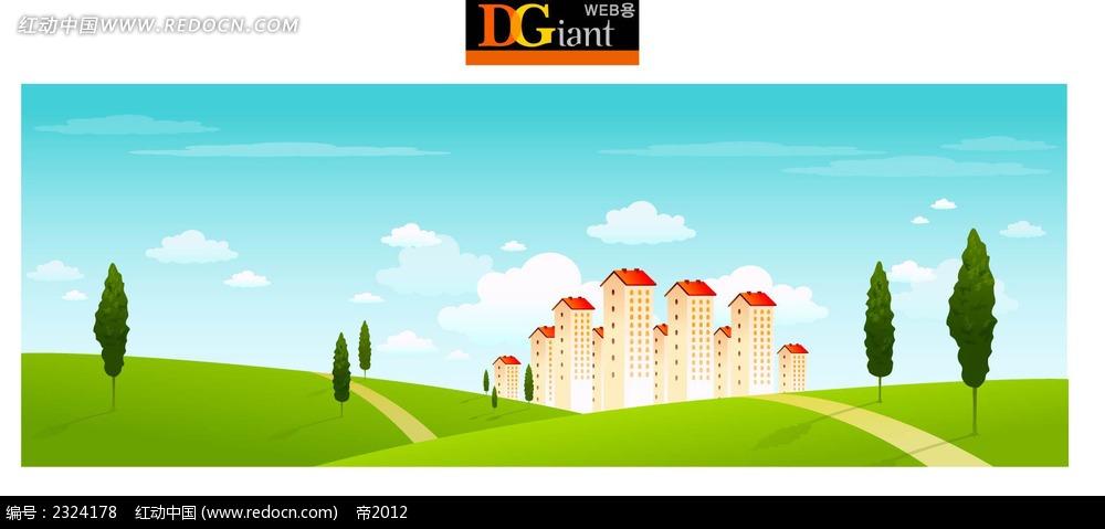 乡村建筑美景手绘背景画