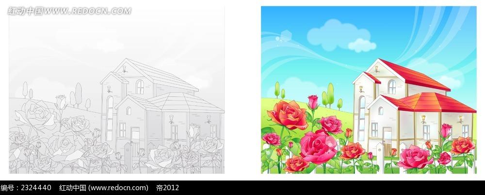 乡村房子小花手绘线描背景画