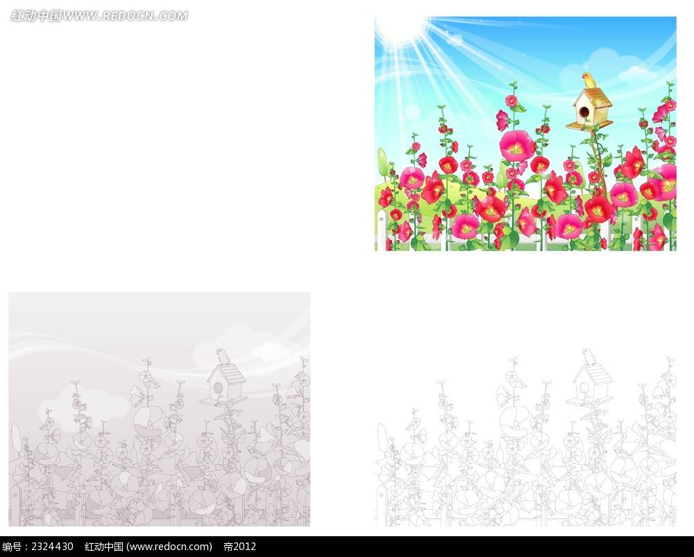 大自然鲜花鸟窝手绘线描背景画