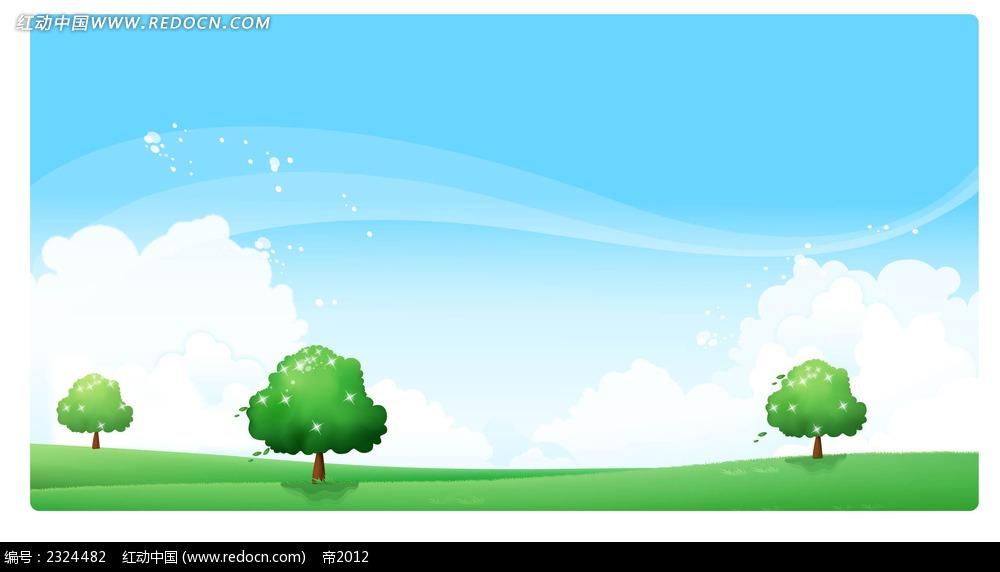 春天大自然小树蓝天白云手绘背景画