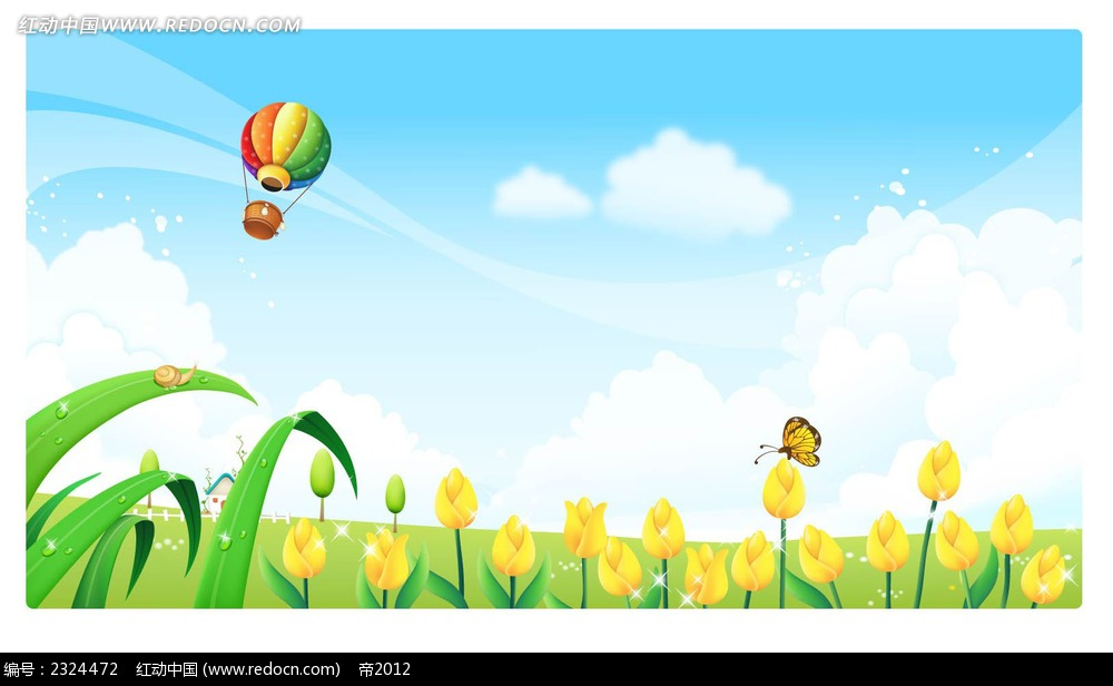 春天大自然小花蝴蝶热气球手绘背景画面
