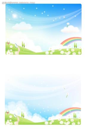 春天大自然小花彩虹手绘背景画面