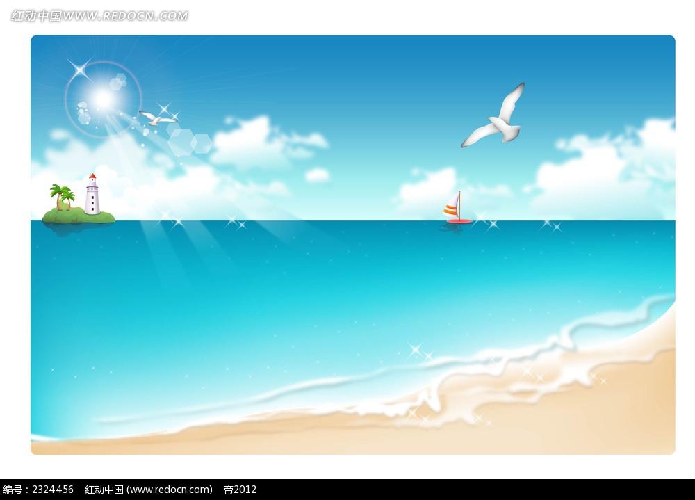 大海沙滩海鸥帆船手绘背景画