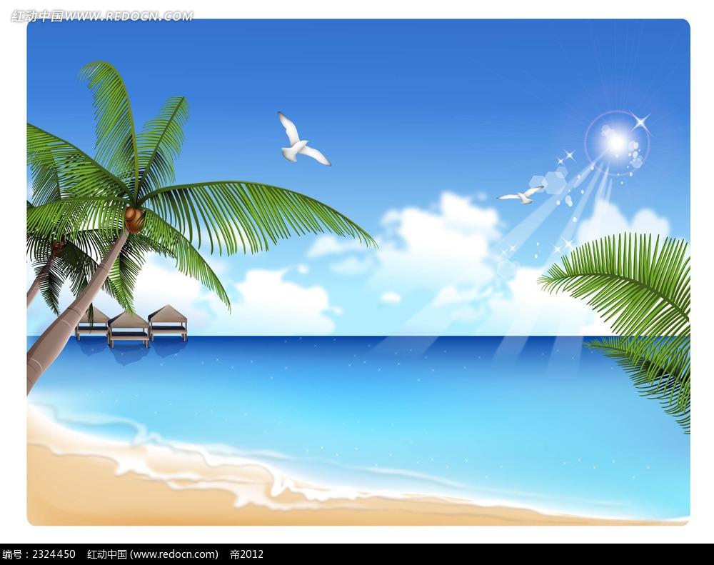 蓝天白云椰树大海沙滩手绘背景画图片