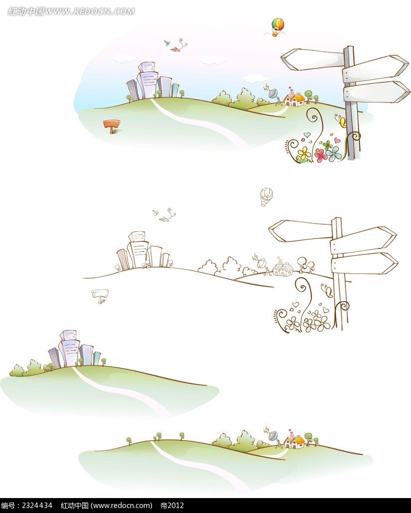 城市道路牌手绘线描背景画