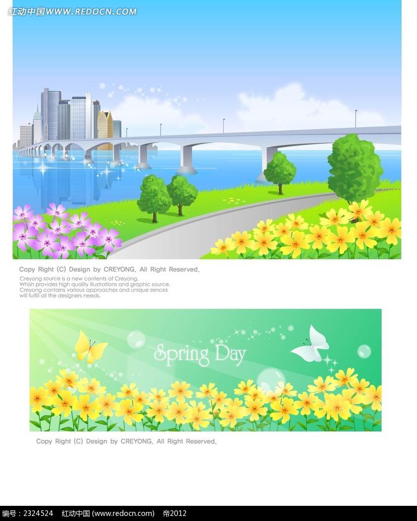 春天城市桥梁小花手绘背景画