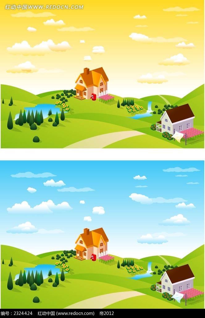 乡村美景手绘背景画