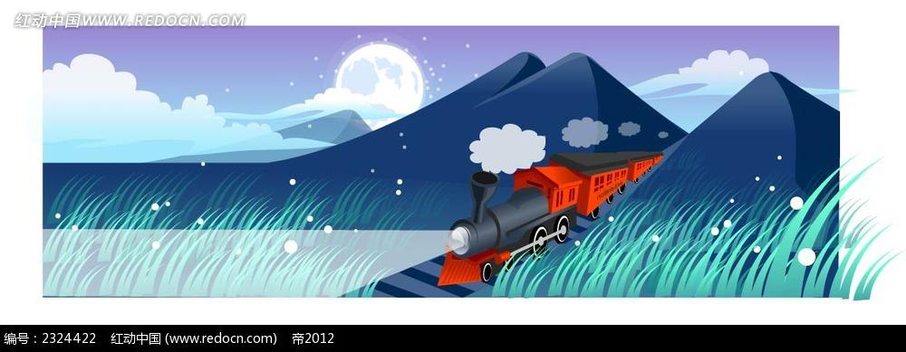 乡间铁路火车手绘背景画