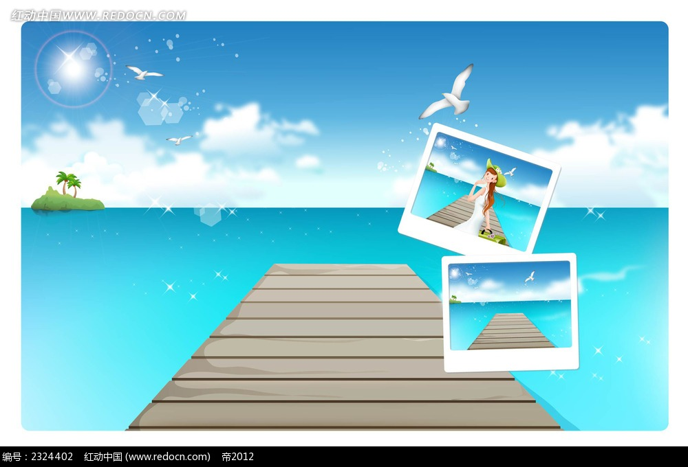 夏季蓝天白云大海手绘背景画