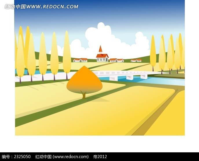 秋季乡村麦田桥梁手绘背景画