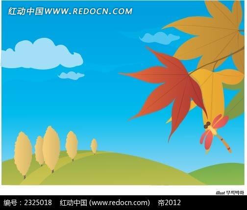 秋季枫叶乡村手绘背景画