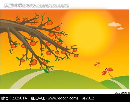 秋季柿子树乡村蜻蜓手绘背景