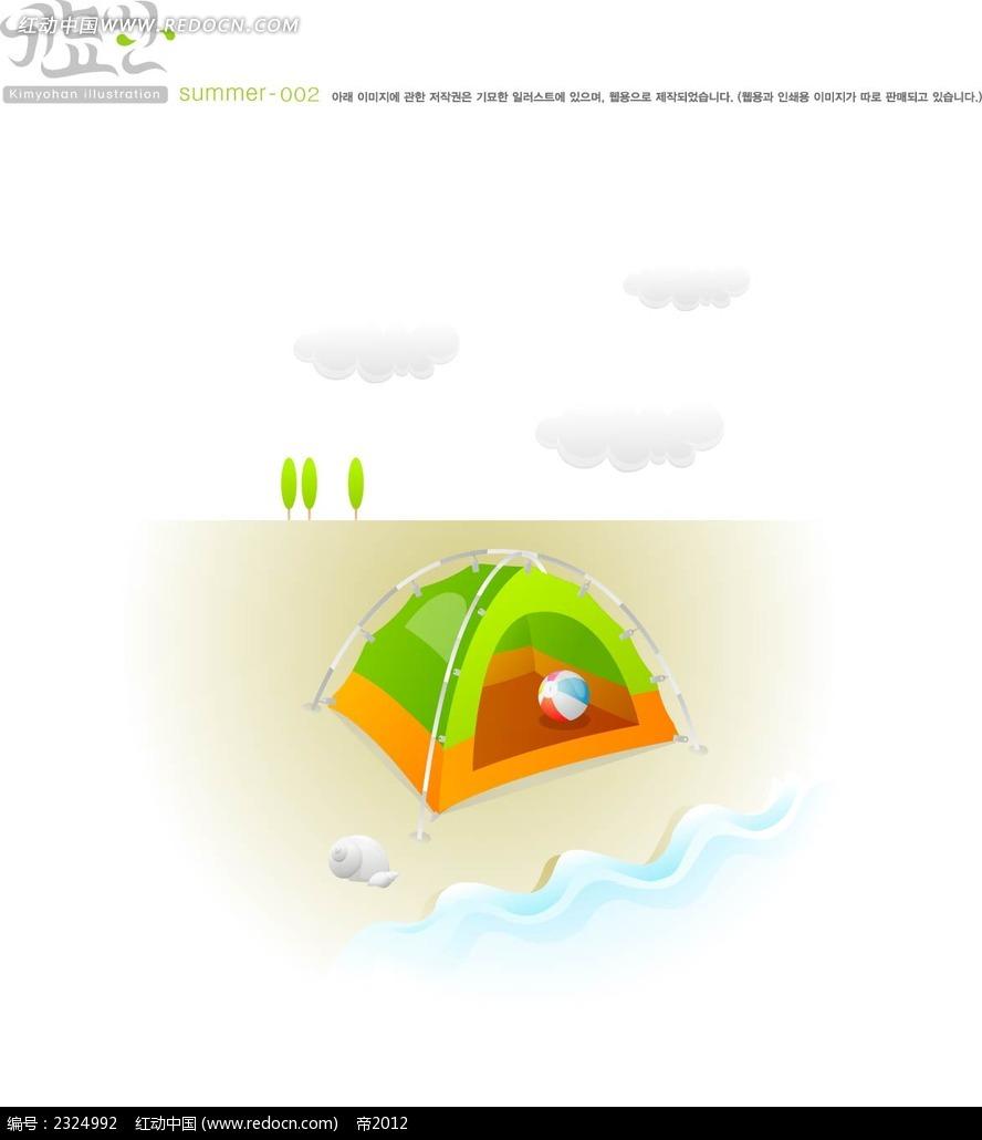 沙滩海浪帐篷手绘背景画
