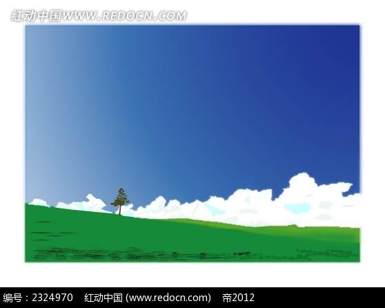 原野小树蓝天白云手绘背景画