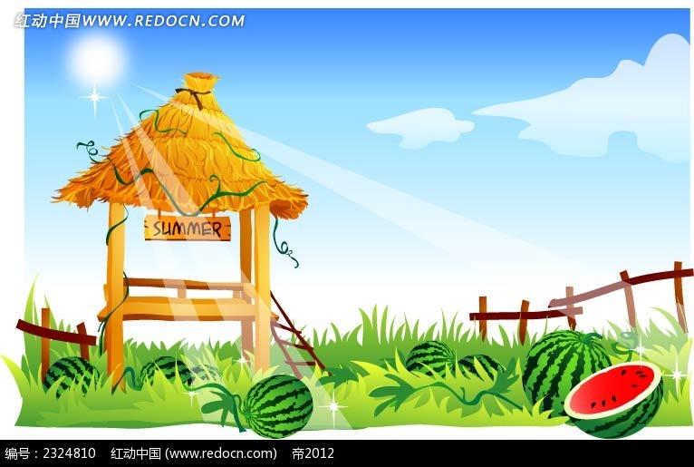 西瓜地茅草棚手绘背景画