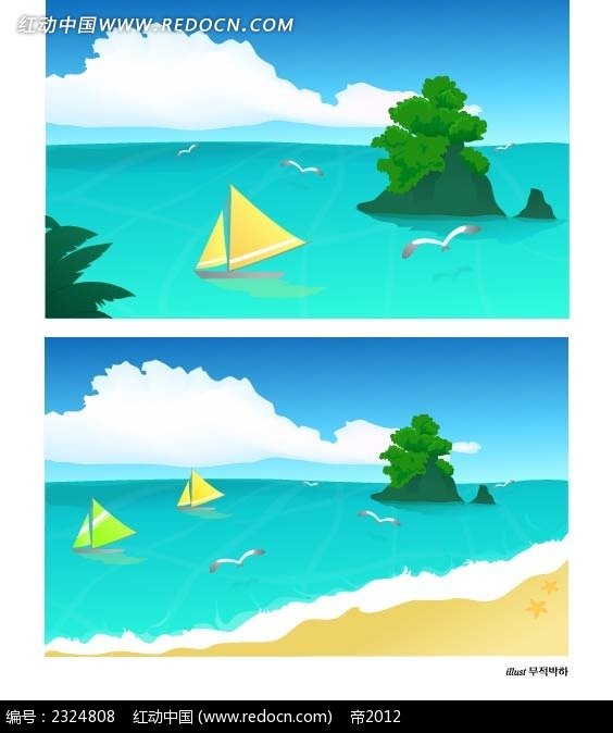 沙滩大海椰岛岛屿帆船手绘背景画
