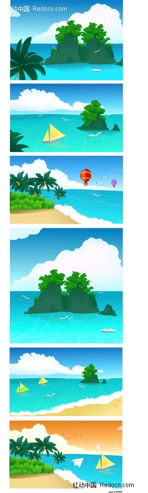 沙滩大海椰岛手绘背景画ai素材免费下载(编号2324804)