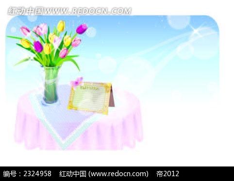 餐桌鲜花餐牌手绘背景画ai素材免费下载(编号2324958)