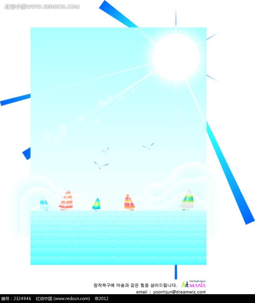 大海帆船海鸥太阳手绘背景画