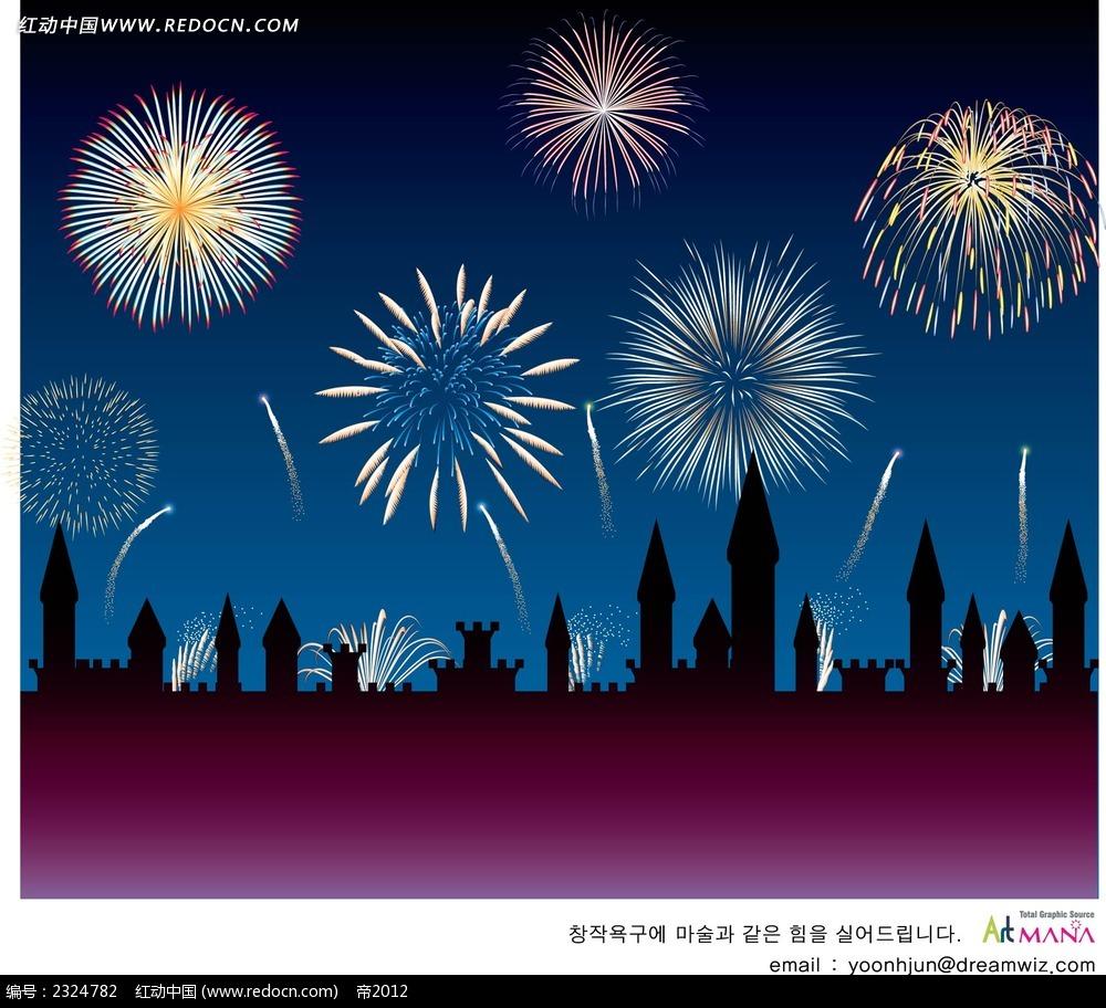 烟花城市剪影手绘背景画
