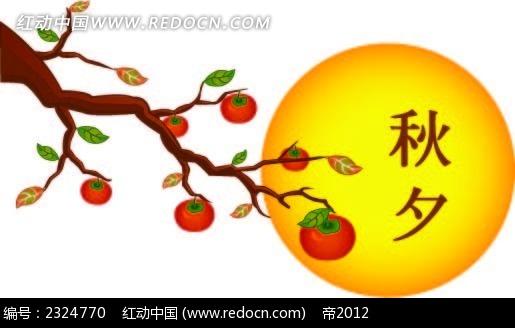 秋季柿子太阳手绘背景画