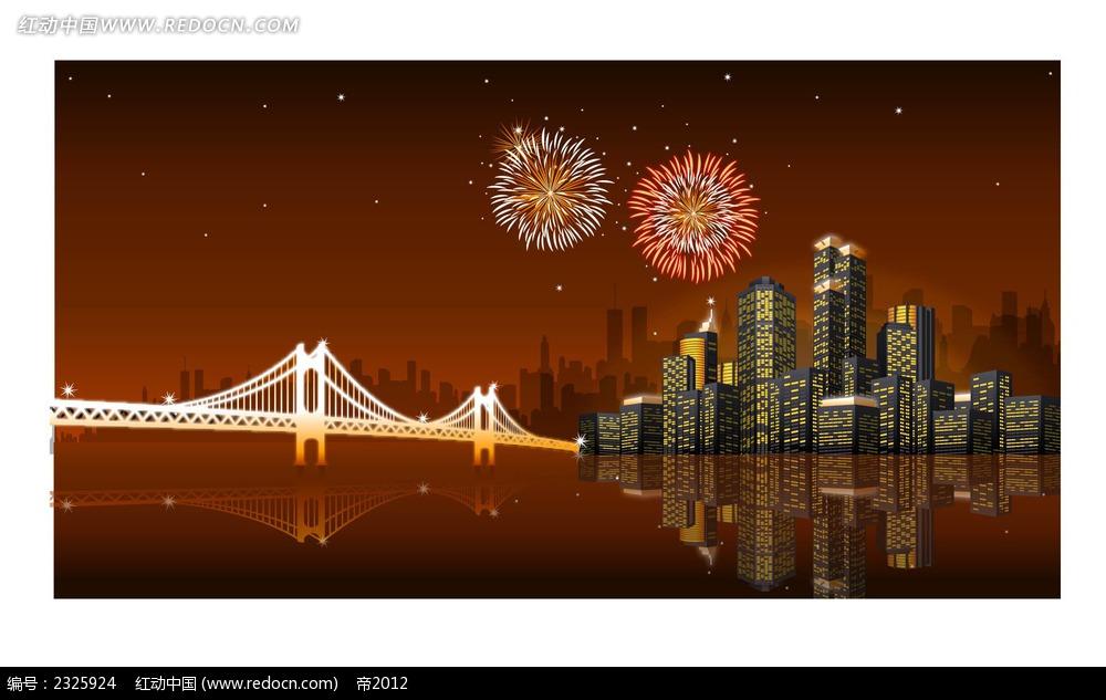 城市夜景桥梁烟花手绘背景画