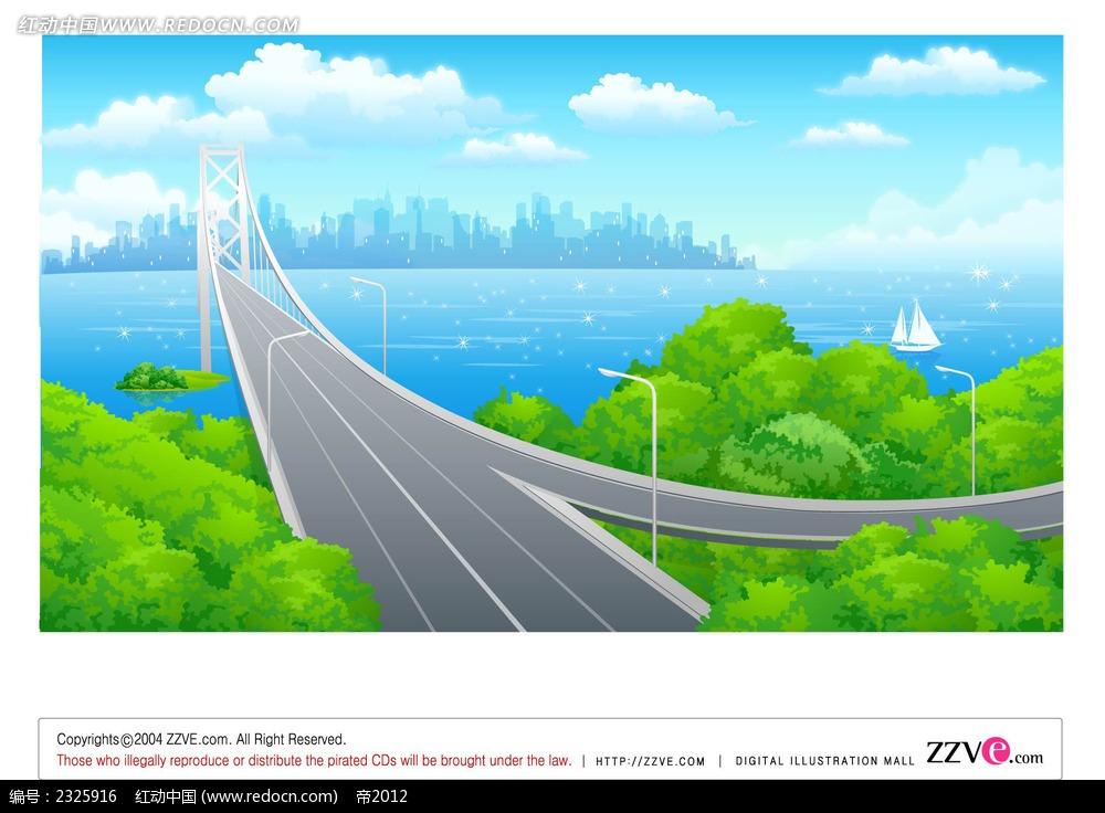 湖景高架手绘背景画