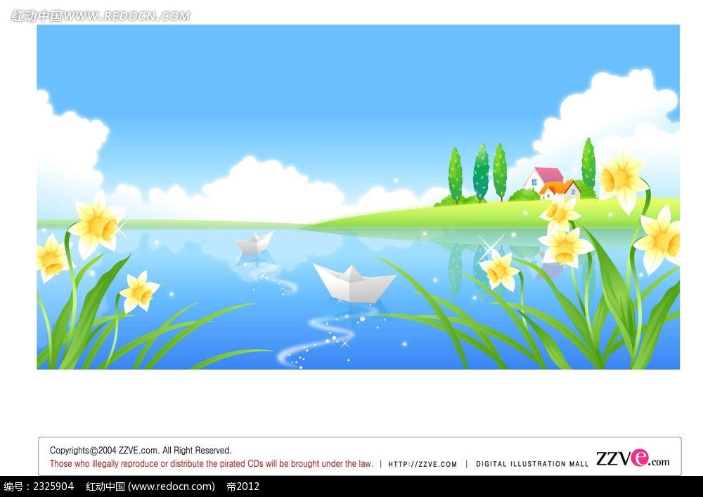 蓝天白云湖面小船手绘背景画