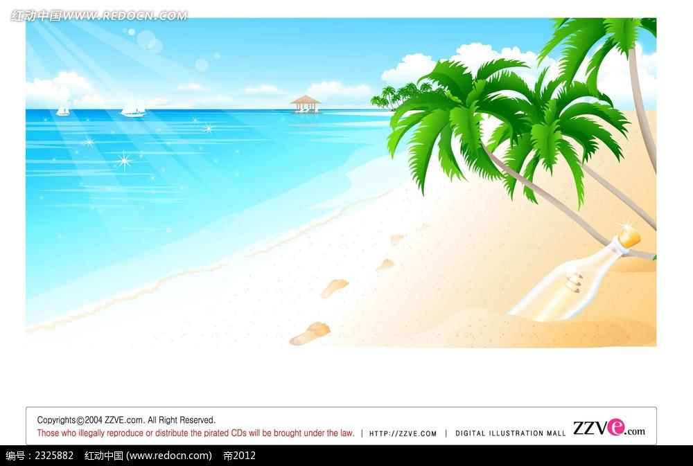 沙滩大海脚印椰树手绘背景画