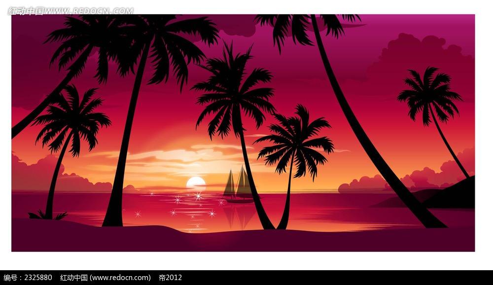 黄昏大海帆船椰树手绘背景画