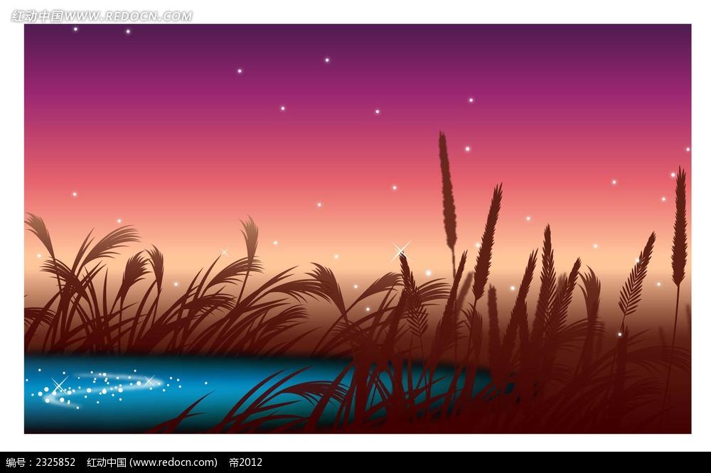 湖面芦苇夜景手绘背景画