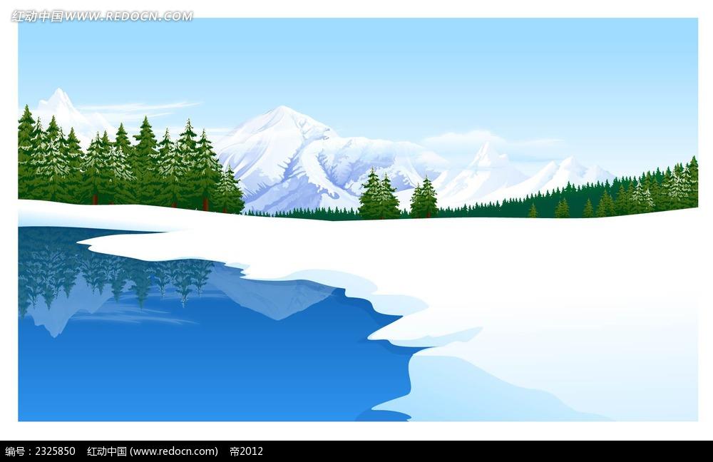 湖景雪景远山树林手绘背景画