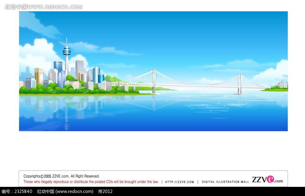 临湖城市桥梁手绘背景画