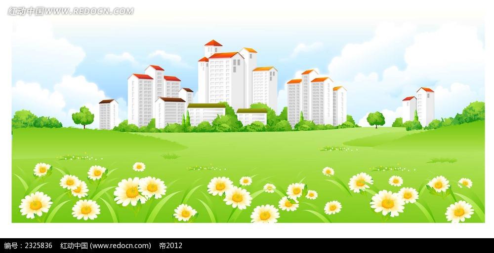 城市美景草地小花手绘背景画