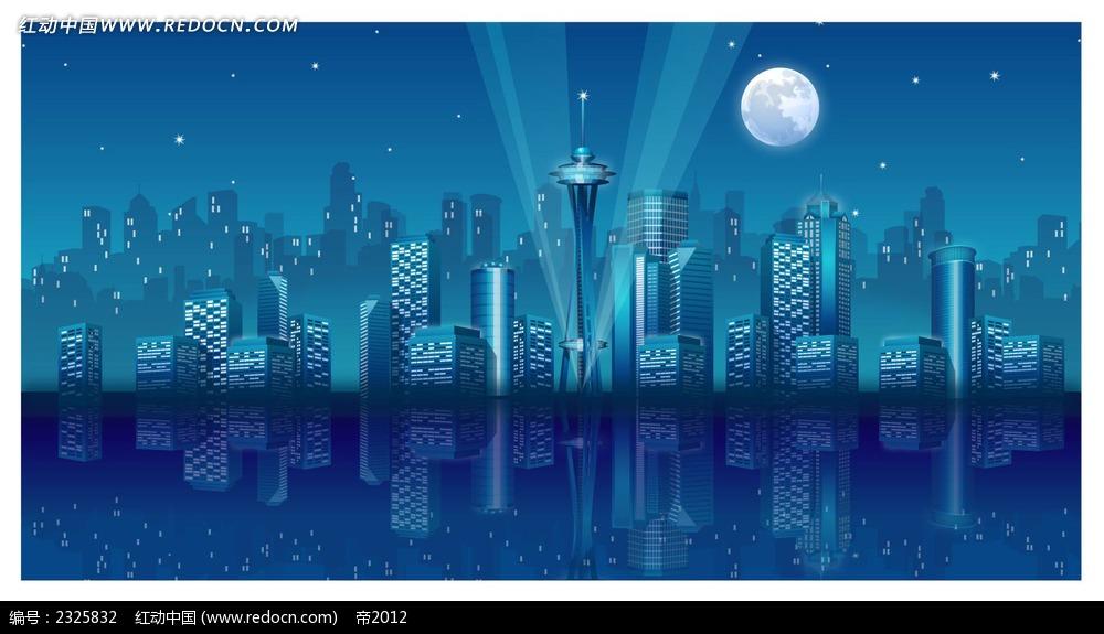 城市夜景灯光手绘背景画