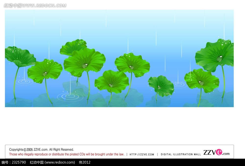 下雨天荷叶手绘背景画