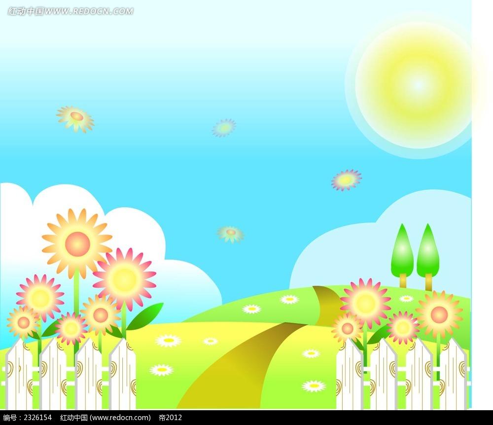 春天乡村美景手绘背景画