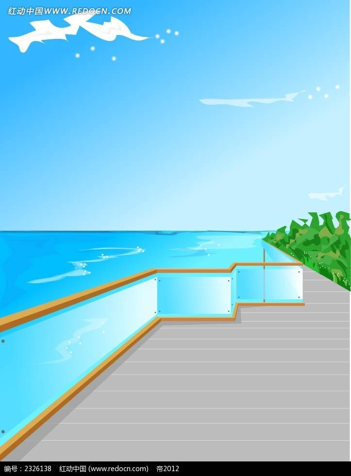 海景蓝天白云手绘背景画