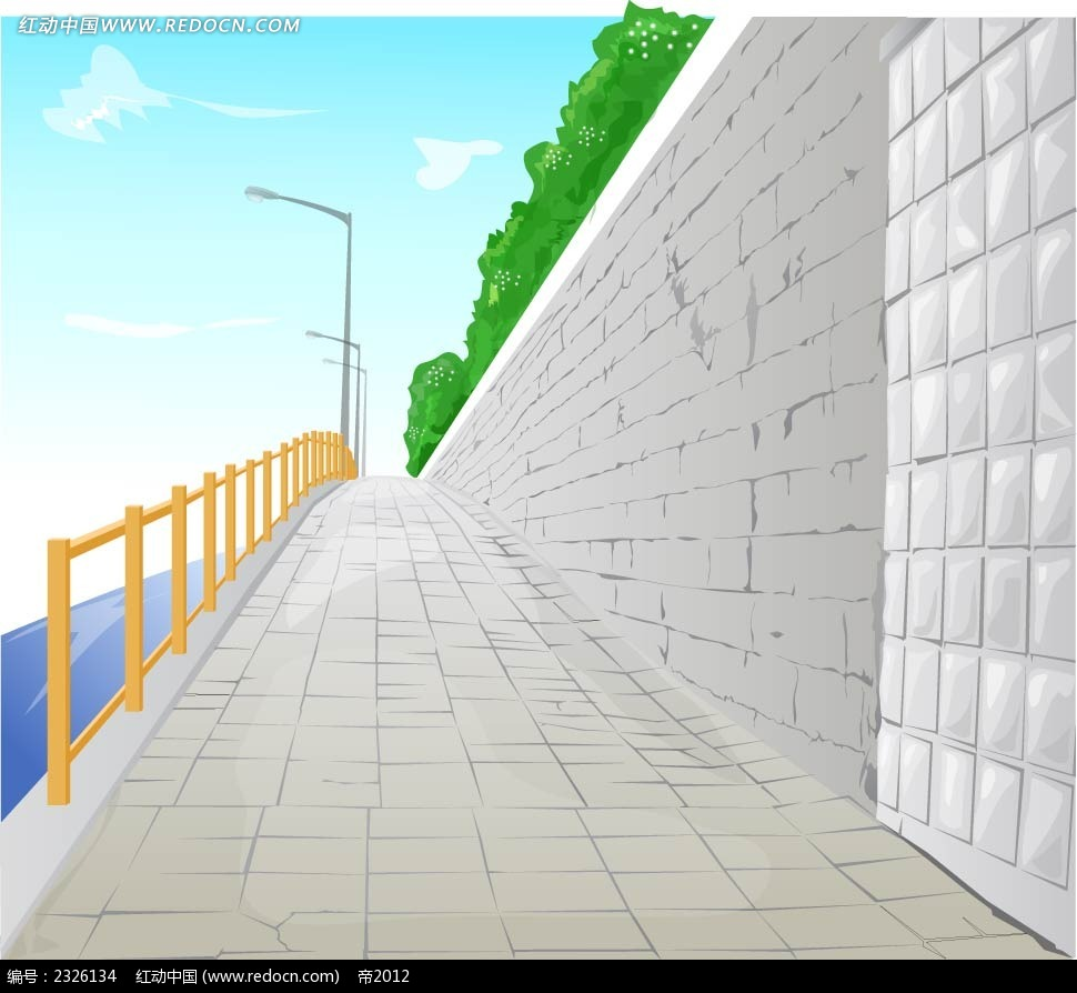 湖边小道栏杆路灯手绘背景画ai素材免费下载(编号)_红