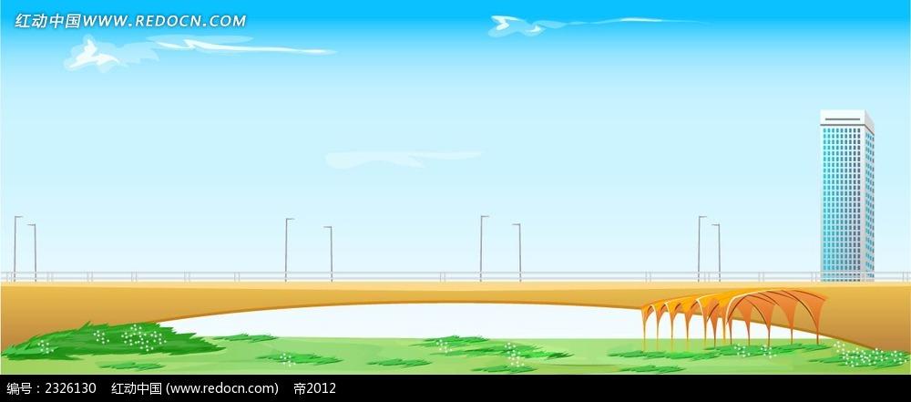 城市大桥蓝天白云手绘背景画