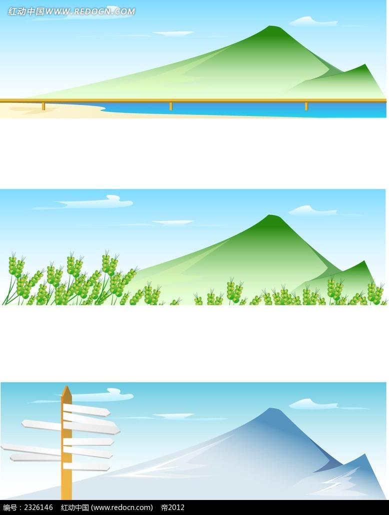 蓝天白云麦子路牌手绘风景画