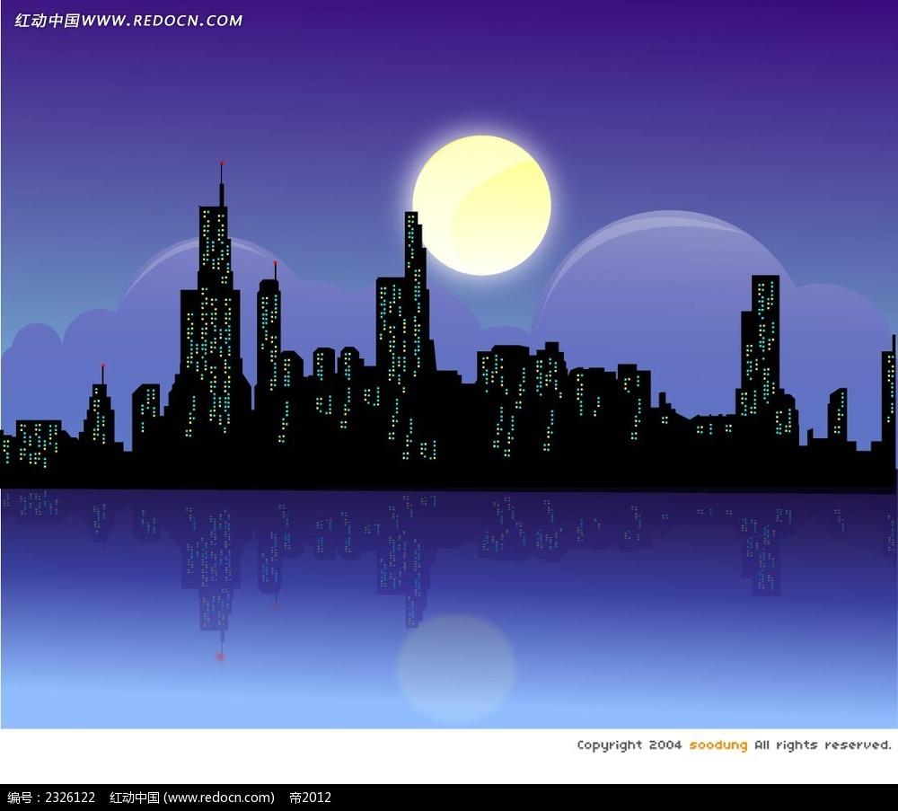 夜晚城市倒影手绘背景画AI素材免费下载 编号2326122 红动网图片