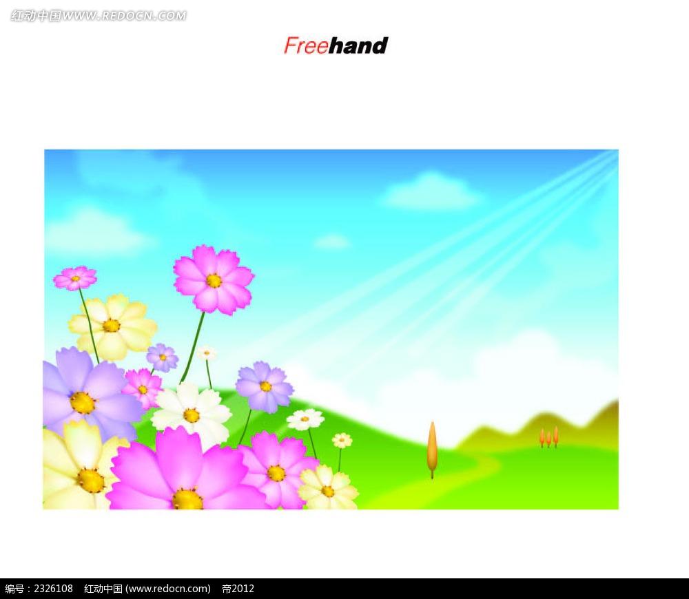 小花乡村美景手绘背景画