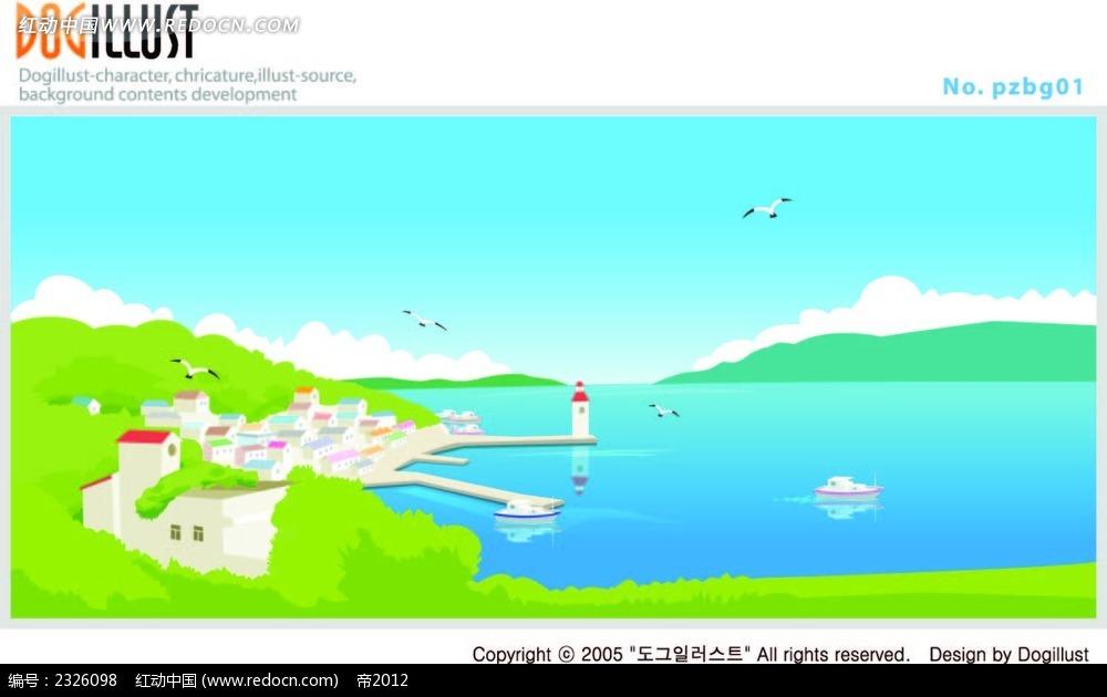 海景手绘风景画