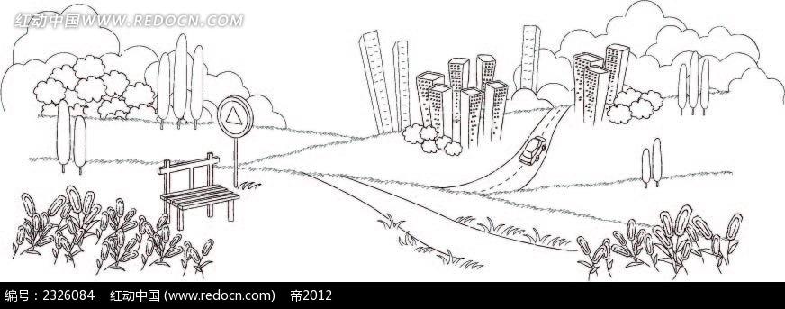 城市道路休闲手绘线描画AI素材免费下载 编号2326084 红动网图片