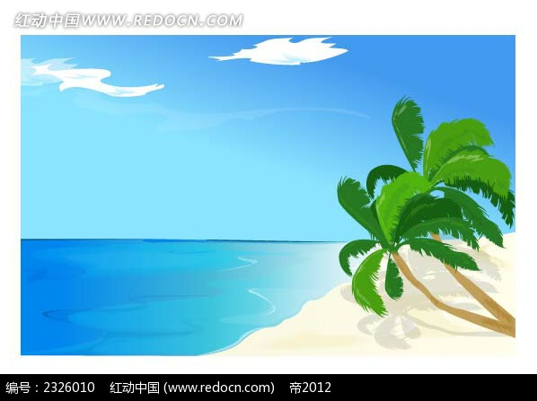 幽静海景手绘背景画