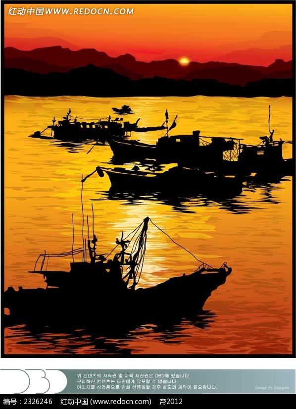 黄昏大海游船手绘背景画