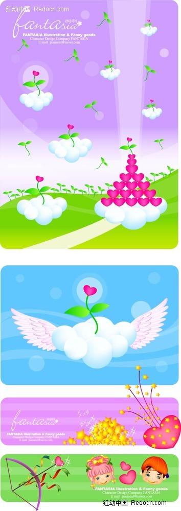 卡通天使心形白云手绘背景画